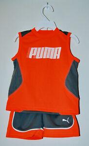 NWT PUMA Infant Boys Orange & Gray 2pc Sleeveless T-Shirt & Short Set sz 24M