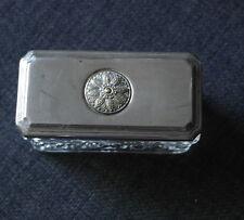 antique glass with silver plate lid TRINKET POT VAITY POT