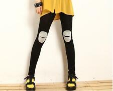 Women Lady Knees Ripped look Funky Gothic Cotton blend Leggings Pants Jeggings