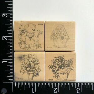 PSX Designs Flowers Teddy Bear Birdhouse Wood Mounted Rubber Stamps Set of 4