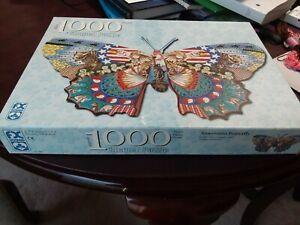 2001 FX Schmid 1000 Piece Americana Butterfly Shaped Jigsaw Puzzle