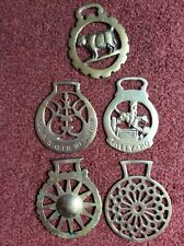 5 X VINTAGE HORSE BRASSES See Photo c 31/2 Inch To 4 Inch List 108