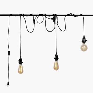 Black Pendant Light Cord, HESSION Plug in Triple Light Socket Pendant Hanging La