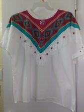 Southwest Fashion Design White Beaded Fringe Blouse Shirt Top OSFM Hazelwood EUC