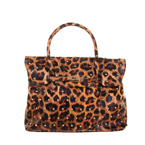 2STAR Flap Tote Bag Textured PU Leather Leopard Pattern Studded Turnlock Closure
