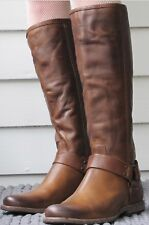 Frye Phillip Harness Tall Leather Boots- Camel, Women's Size 8