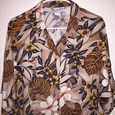 EUC WOMENS VINTAGE PERSONAL TOUCH RAYON FLORAL HAWAIIAN COCKTAIL TOP SHIRT LARGE