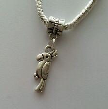 Silver Tone Bird Slider Dangle Charm Bead For European Bracelets Necklace