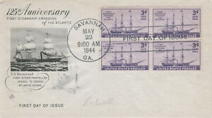 "#923 – 1944 3c Steamship ""Savannah"" Atlantic Crossing, block of (4) FDC"