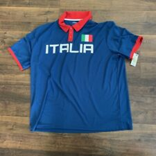Soccer Italia men's polyester collared shirt, blue, Xl
