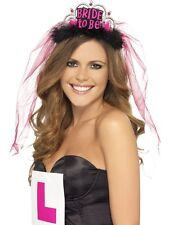 Hen Night Bride To Be Tiara with Veil Black With Hot Pink Lettering
