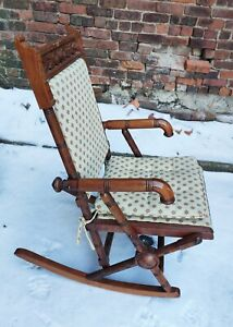 EASTLAKE ANTIQUE VICTORIAN ROCKING CHAIR WITH PADS
