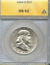 1963-D Denver Uncirculated. Silver Franklin Half Dollar ANACS Certified  MS 62!