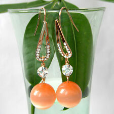 Navachi Orange Ball Opal Agate 18K GP Rhinestone Crystal Hook Earrings BH2169