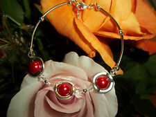 Hot Tibetan Silver Fashion Red Glass Pearl & Clear Crystal Bead Bracelet S-15