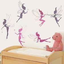 6 Magic Fairies Wall Stickers Girls Art Decal VINYL Nursery Kids Children's Room