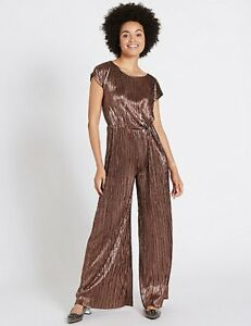 MARKS & SPENCER COLLECTION BRONZE METALLIC KNOT DETAIL JUMPSUIT Sizes 8 to 16