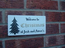 Shabby vintage chic christmas xmas  personalised sign plaque 8x4 handmade sign