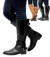 Womens Zip Up Gusset Riding Biker Ladies Leather Calf Knee High Boots Shoes Size