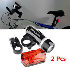 Waterproof Bright 5 LED Bike Bicycle Cycle Front and Rear Back Tail Light hc