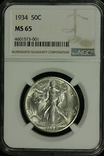 Walking Liberty Silver Half Dollar. 1934 P. NGC MS 65.  Lot # 4601573-001