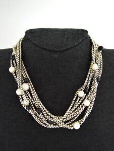"David Yurman 18k Gold Sterling Silver Onyx Pearl 8 Strand Box Chain Necklace 16"""