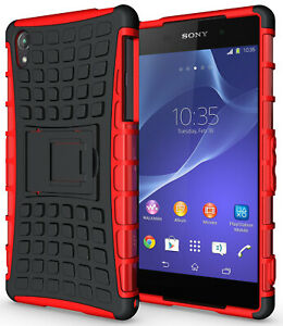 RED GRENADE GRIP RUGGED TPU SKIN HARD CASE COVER STAND FOR SONY XPERIA Z2 PHONE