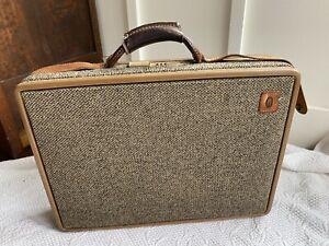 "Hartmann Vintage 18"" Brown Tweed Brown Leather Briefcase Attache Made in USA"
