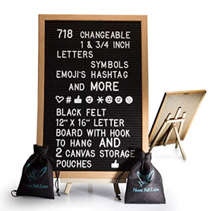 Black Felt Letter Board With Easel Stand 12 x 16 | 718 Changeable Characters 1 ¾
