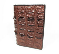 New Brown Genuine Leather Crocodile Alligator Tail Unisex Passport Holder Wallet
