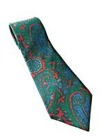 "Oleg Cassini 100% Silk Men's Necktie USA Made, Green with Blue /Red, 54"" X 3 1/2"