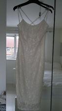 Rare London @ Topshop Cream & Gold Floral Lace Midi Dress, Size XS 6