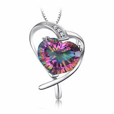 26 mm 7.2ct Luxury Genuine Mystic Topaz Heart Necklace Pendant 925 Silver gift