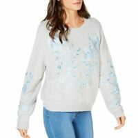 INC NEW Women's Floral Embroidered Wool Blend Crewneck Sweater Top L TEDO