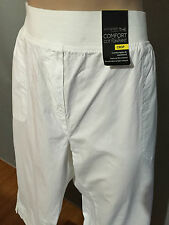 Womens Sz 22 Autograph White Elastic Waist Band Cotton Crop Pants RRP