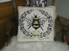 Beautiful Handmade Decorative Hand Hooked Bumble Bee Pillow 16x16