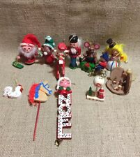 Vtg 80's Wooden Christmas Ornaments Collection Of 12