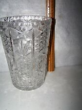 """LEAD CRYSTAL GLASS VASE 8 1/2"""" TALL X 6"""" WIDE  NO DAMAGE PERFECT CONDITION #434"""