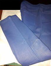 "$889 NEW L'Agence Blue Lamb Skin Leather Pants 34""W x 26""L"