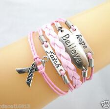 Hot Hope/Believe/Faith/Breast Cancer Awareness Sign Leather Braided Bracelet