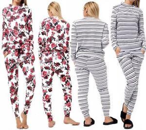 New Women Ladies  2 Pcs Tracksuit Floral Stripe Print  Long Sleeve UK 8-14