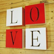 Set of 4 LOVE Cube Shelf Wall Mounted Storage Shelving Décor Cupboard Red White