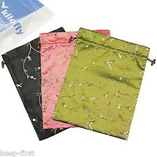3pcs Fashion Chinese Handmade Red Embroidered Flower Silk Clothes Shoes Bag