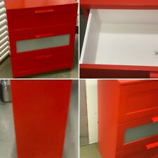 Ikea Brimnes Red 3 Drawer Chest Of Drawers