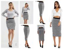 Women's Ladies Grey Hound Checked Print Mini Midi Stretch Work Office Skirt
