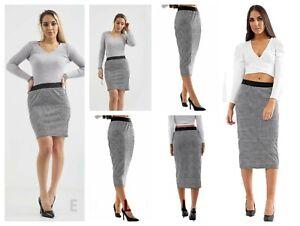 Women's Ladies Grey Dogtooth Checked Print Mini Midi Stretch Work Office Skirt