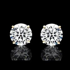 14k Solid Yellow Gold Round Cut Diamond Solitaire Studs Earrings 1/4 Ct