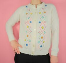 Vintage 60s 70s Floral White Knit Cardigan Sweater Argyle Cute Kawaii Flowers
