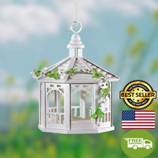 New listing Songbird Valley White Gazebo Bird Feeder 10.5 Inch, Outdoor Modern Wood & Plasti