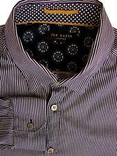 TED BAKER Shirt Mens 16.5 L Dark Blue & White Stripes